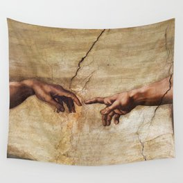 The Creation of Adam by Michelangelo Wall Tapestry