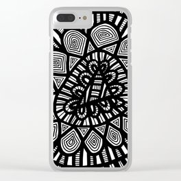 Black and White Doodle 7 Clear iPhone Case