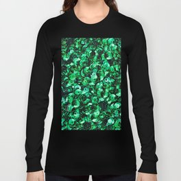 Green Scattered Sequins Long Sleeve T-shirt