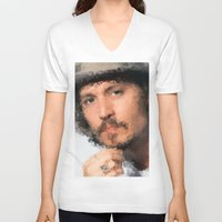 johnny depp V-neck T-shirts featuring Johnny Depp by lauramaahs