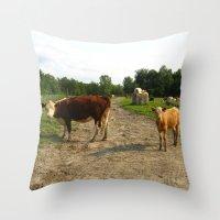 cows Throw Pillows featuring Cows by Emily Elizabeth Reichmann