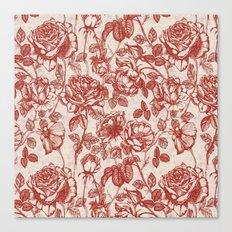 Toile de jouy (Roses) Canvas Print