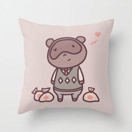 Raccoon Animal Villager | Illustration | Tom Throw Pillow