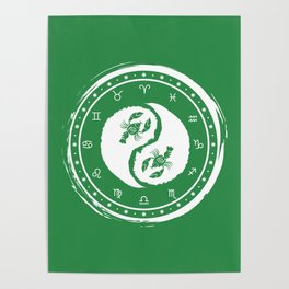 Cancer Yin Yang Fourth Zodiac Sign Poster