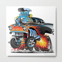 Classic hotrod 57 gasser drag racing muscle car cartoon Metal Print
