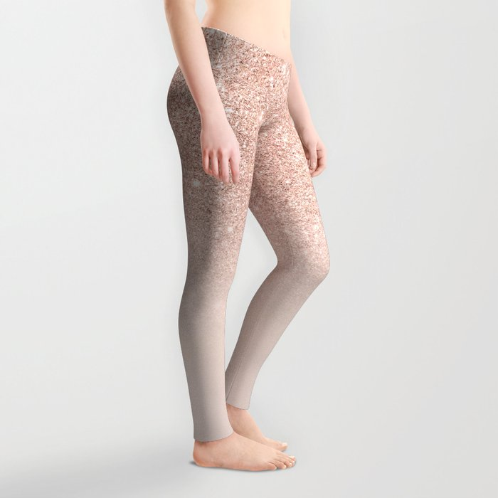 Rose gold faux glitter pink ombre color block Leggings