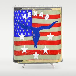 Western Patriotic Texas Longhorn Logo Pattern Art Shower Curtain