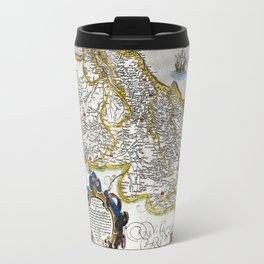 Map of the Kingdom of Portugal by Abraham Ortelius, dated 1560 Travel Mug