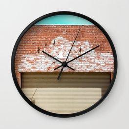 Street photography brick warehouse entrance I Wall Clock