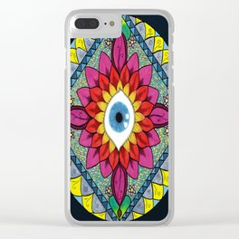 Colorful Eye of Horus Mandala Mosaic Abstract Clear iPhone Case