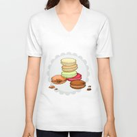 macaroon V-neck T-shirts featuring Macarons | SCARLETTDESIGNS. by ScarlettDesigns