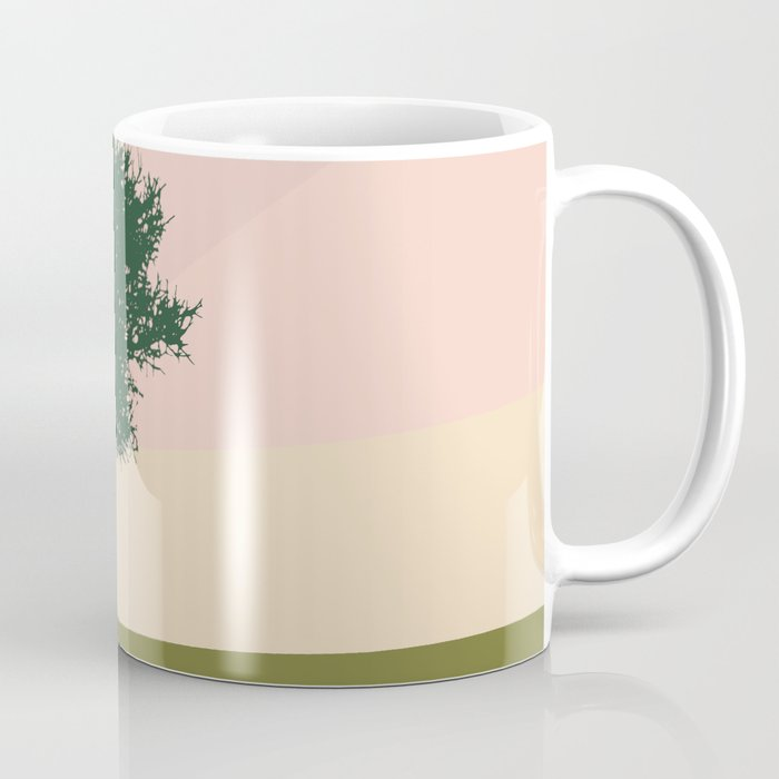 Trichromatic landscape Tree and a bird Coffee Mug