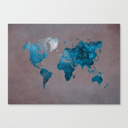 world map 104 blue #worldmap #map Canvas Print