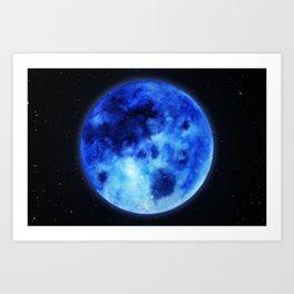Watercolor : Blue Moon Art Print