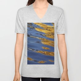 Blue and Gold Water Reflection Unisex V-Neck