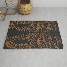 Midnight Leopard - Navy and Orange Leopard print By Kristen Baker Rug