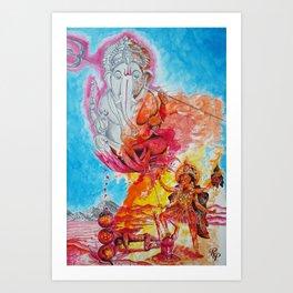 Ganesh Kali Art Print