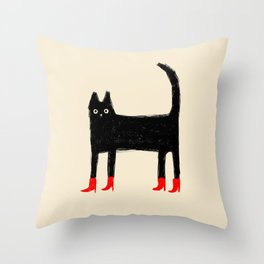 Black Cat in Red Boots Throw Pillow