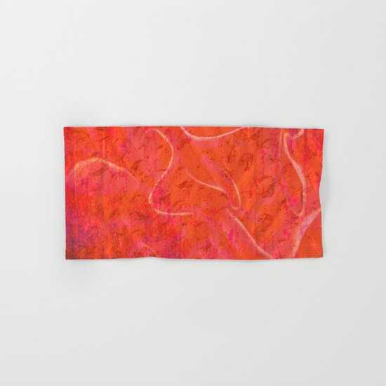 Flaming Rose, Floral Abstract Art Hand & Bath Towel