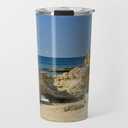 rock formation on Olhos d'Agua beach, Portugal Travel Mug