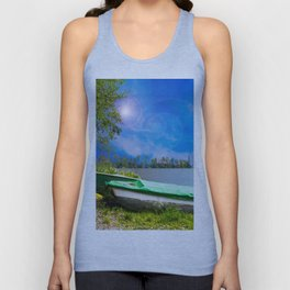 two boats at a lake Unisex Tank Top