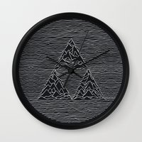 joy division Wall Clocks featuring Triforce // Joy Division by Daniel Mackey
