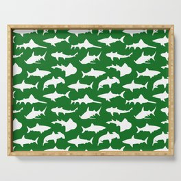 Sharks on Jewel Green Serving Tray