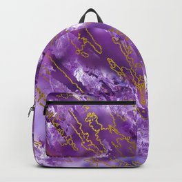 Amethyst Quartz and gold texture Backpack
