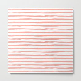 Pink Drawn Stripes Metal Print