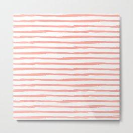 Pink Drawn Stripes Metal Print