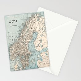 Vintage Map of Norway and Sweden (1893) Stationery Cards