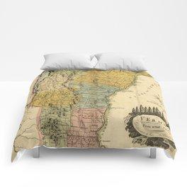 Vintage Map of Vermont (1814) Comforters