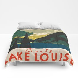 Lovely Lake Louise vintage travel ad Comforters