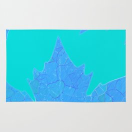 Sycamore Stained Glass Tiffany style design Ice leaf on turquoise Rug