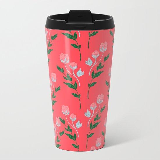 Tiny Rose Pattern - Coral Metal Travel Mug