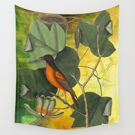 Baltimore Oriole on Tulip Tree, Vintage Natural History and Botanical Wall Tapestry