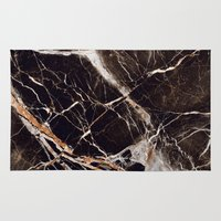 geology Area & Throw Rugs featuring Black Marble by Santo Sagese