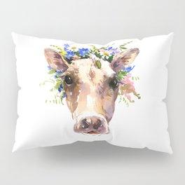 Cow Head, Floral Farm Animal Artwork Pillow Sham
