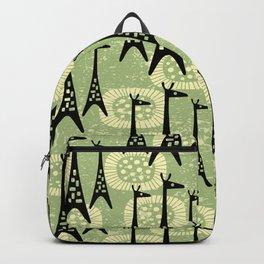 Mid Century Modern Giraffe Pattern Black and Sage Backpack