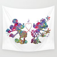 minnie Wall Tapestries featuring Mickey Loves Minnie by Bitter Moon