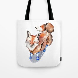 Smiling Red Fox in Blue Socks Tote Bag