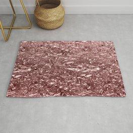 Rose Gold Pink Liquid Metallic Chrome Metal Rug