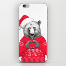 christmas bear iPhone Skin