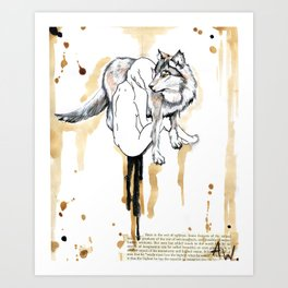 The Girl And The Wolf Art Print