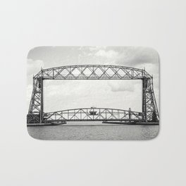 Aerial Lift Bridge-black and white Bath Mat