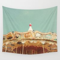 carousel Wall Tapestries featuring Carousel Lights by Cassia Beck