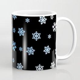 Snowflakes (Blue & White on Black) Coffee Mug