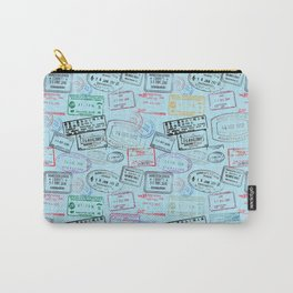 Worldly Traveler - Passport Pattern - Light Blue Carry-All Pouch