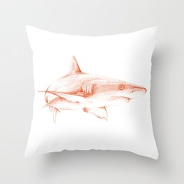 Shark Illustration - Pointillism Japanese-Inspired Art by Design by Cheyney Throw Pillow