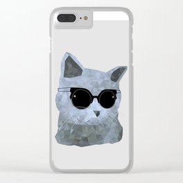 Low poly hipster british cat Clear iPhone Case